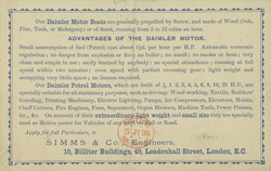 Advert for Daimler Motor Boats, reverse side
